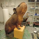 Resin Guinea Pig Figurine Standing On Box