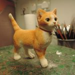 Resin Ginger Cat walking Figurine