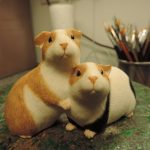 Resin Guinea Pig Pair Figurine