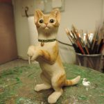 Resin Tabby Cat on Hind Legs Figurine