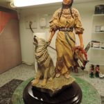 Country Artists Native American Lady and Howling Wolf Figurine