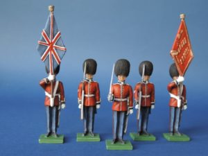 54mm Metal Cast Toy Soldier. Scots Guards Colour Party Standing 5 Piece