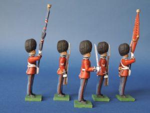 54mm Metal Cast Toy Soldier. Scots Guards Colour Party Standing 5 Piece
