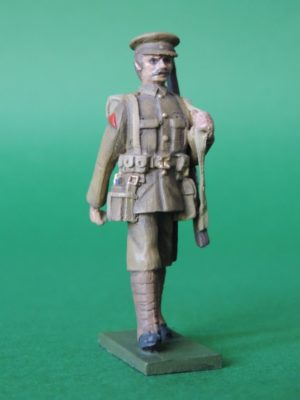 54mm Metal Cast Toy Soldier. World War 1 Marching Peak Cap Slung Rifle