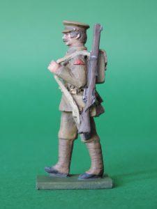 54mm Metal Cast Toy Soldier. World War 1 Marching Peak Cap Slung Rifle