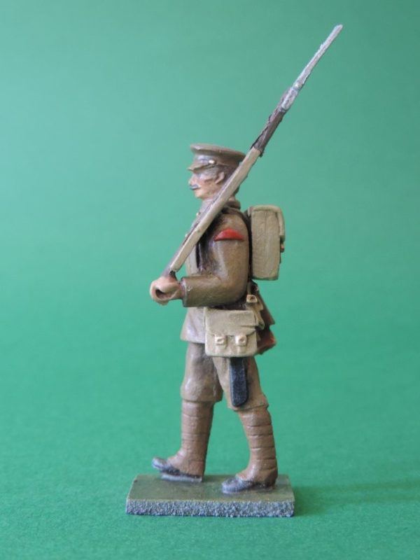 54mm Metal Cast Toy Soldier. World War 1 Marching Peak Cap Shouldered Rifle