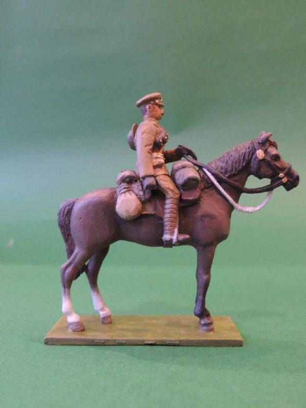 54mm Metal Cast Toy Soldier. Mounted World War 1 Gunner