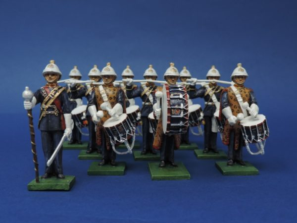 54mm Metal Cast Toy Soldier. Royal Marines Standing Drum Corp 10 Piece