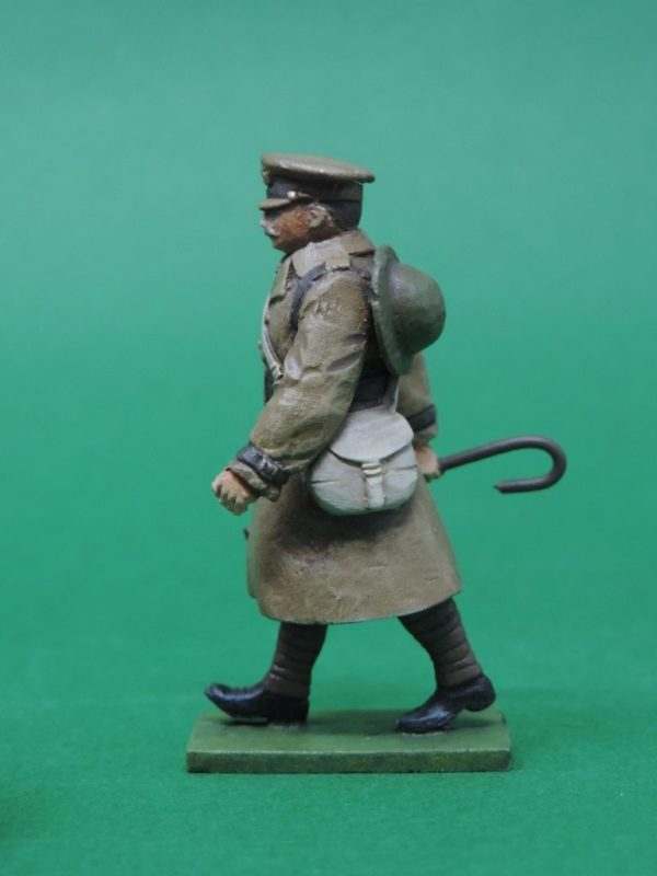 54mm Metal Cast Toy Soldier. World War 1 Officer In Trench Coat