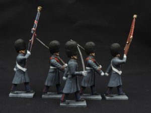 54mm Metal Cast Toy Soldier. Scots Guards Great Coat Colour Party Marching