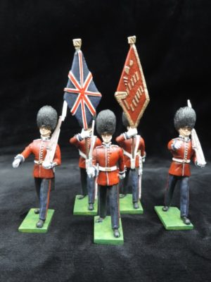 54mm Metal Cast Toy Soldier. Scots Guards Colour Party Marching 5 Piece