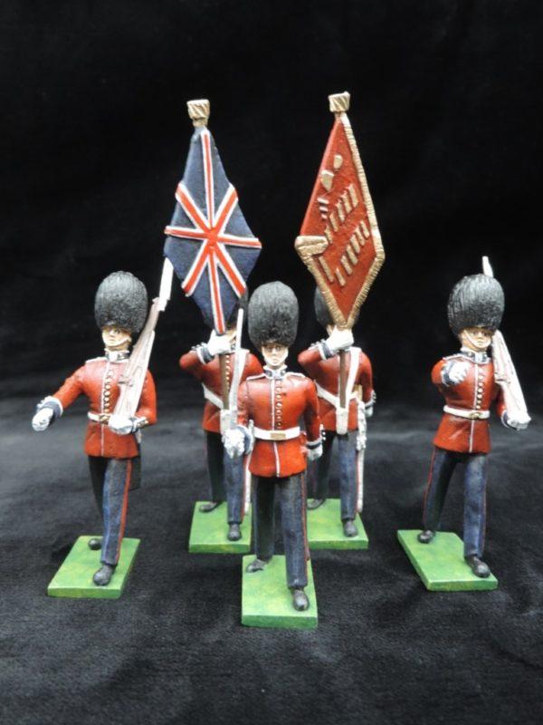 54mm Metal Cast Toy Soldier. Scots Guards Colour Party Marching 5 Piece