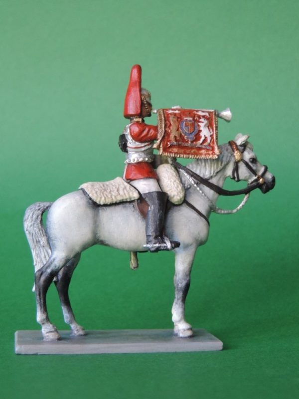 54mm Metal Cast Toy Soldier. Mounted Lifeguard Trumpeter