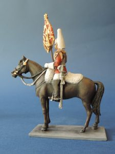 54mm Metal Cast Toy Soldier. Mounted Lifeguard Corporal Major With Standard