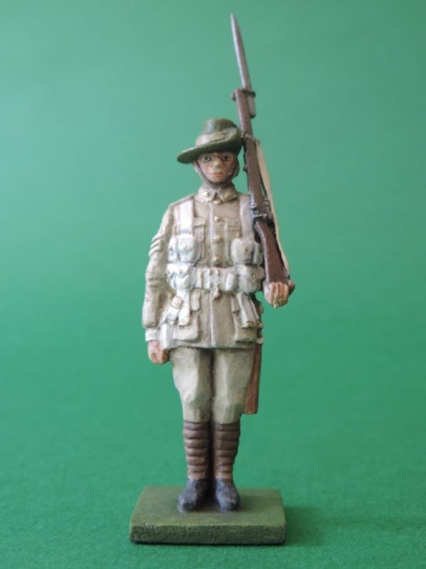 54mm Metal Cast Toy Soldier. World War 2 Australian Standing Rifle On Shoulder