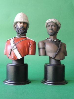 Hand Painted 120mm British Empire 24th Foot And Zulu Warrior Military Bust Produced By Loggerheads Military Studio
