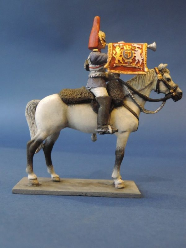 54mm Metal Cast Toy Soldier. Mounted Blues And Royals Trumpeter