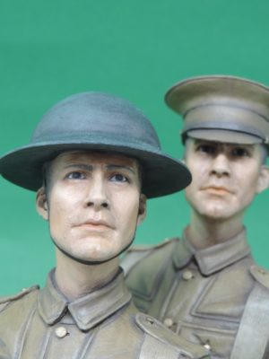 Hand Painted 120mm World War 1 British Tommy Military Bust Produced By Loggerheads Military Studio