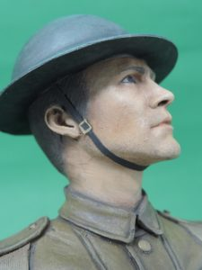 Hand Painted 120mm World War 1 British Tommy Tin Hat Military Bust Produced By Loggerheads Military Studio