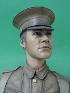 Hand Painted 120mm World War 1 British Tommy Peak Cap Military Bust Produced By Loggerheads Military Studio