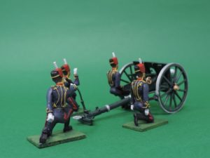 54mm Metal Cast Toy Soldier. Royal Horse Artillery Troopers With Gun