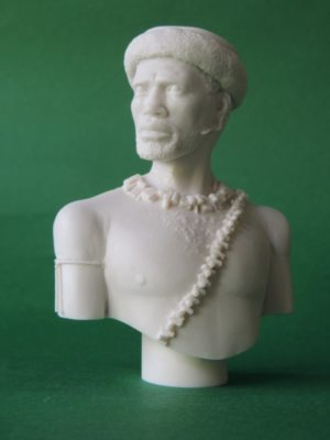 Unpainted 120mm Zulu Warrior Military Bust Produced By Loggerheads Military Studio