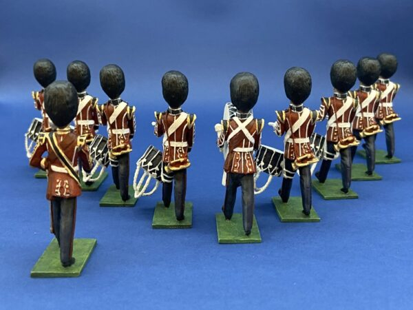 54mm Metal Cast Toy Soldier. Scots Guard Marching Drum Corp 10 Piece
