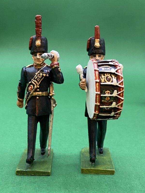54mm Metal Cast Toy Soldier. Royal Horse Artillery Drum Corp 10 Piece